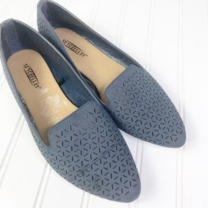 Seychelles Navy Pointed Toe Loafers